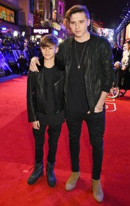 Romeo and Brooklyn Beckham attend the UK film premiere of Star Wars: The Force Awakens held at Odeon and Empire Cinemas, Leicester Square London. (December 14, 2015)