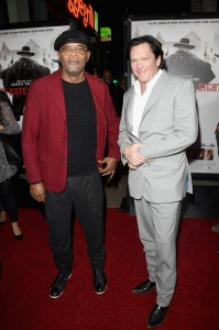 Samuel L. Jackson and Michael Madsen attend the Los Angeles film premiere of The Hateful Eight held at ArcLight Cinemas, Sunset Blvd on December 7, 2015.