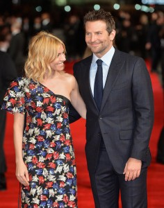 Sienna Miller and co-star Bradley Cooper attend the U.K. film premiere of Burnt held at Vue West End, Leicester Square, London on October 28, 2015.