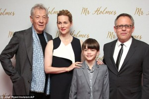 Sir Ian McKellen, Laura Linney, Milo Parker and Bill Condon at the U.K. film premiere of Mr. Holmes held at Odeon, Kensington, London on June 10, 2015.