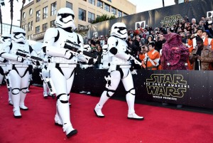 Stormtroopers walk the carpet at the World Premiere of Star Wars: The Force Awakens held at TCL Chinese Theatre, Hollywood Blvd, Los Angeles, CA on December 14, 2015.