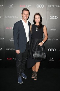 Tasma Walton and Rove Mcmanus at the Australian film premiere of In the Heart of the Sea held at Moore Park, Sydney on November 17, 2015.
