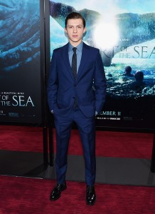 Tom Holland attends the New York film premiere of In the Heart of the Sea on December 7, 2015.