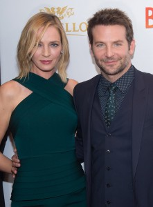 Uma Thurman and Bradley Cooper attend the New York film premiere of Burnt held at the Musuem of Modern Art, NYC on October 20, 2015.