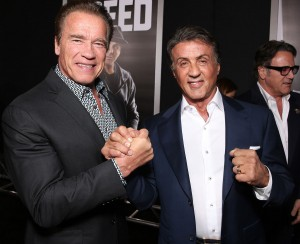 Arnold Schwarzenegger & Sylvester Stallone attends the Creed premiere in Los Angeles held at Regency Village Theatre, Westwood, CA on November 19, 2016.