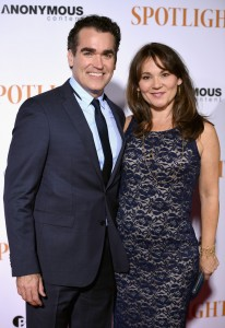 Brian d'Arcy James and Jennifer Prescott attend the New York City premiere of Spotlight held at the Ziegfeld Theatre on October 27, 2015.