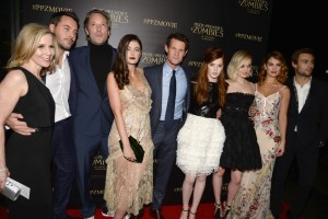 Cast and Crew of Pride and Prejudice and Zombies attend the Los Angeles premiere at Harmony Gold Theatre, Sunset Blvd, CA.