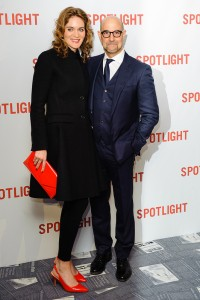 Felicity Blunt and Stanley Tucci attend the UK premiere of Spotlight held at Curzon Mayfair, London on January 20, 2016.