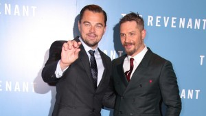 Co-stars Leonardo DiCaprio and Tom Hardy attend the UK premiere of The Revenant held at Empire Cinemas, Leicester Square, London on January 14, 2016.