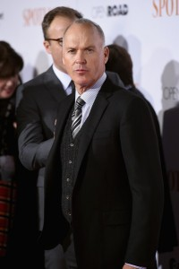 Michael Keaton attends the New York City premiere of Spotlight held at the Ziegfeld Theatre on October 27, 2015.
