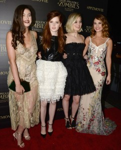 Cast of Pride and Prejudice and Zombies attend the Los Angeles premiere at Harmony Gold Theatre, Sunset Blvd, CA.