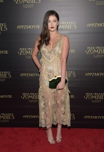 Millie Brady attends the Los Angeles premiere of Pride and Prejudice and Zombies held at Harmony Gold Theatre, Sunset Blvd on January 21, 2016.