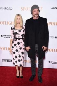 Naomi Watts and Liev Schreiber attend the New York City premiere of Spotlight held at the Ziegfeld Theatre on October 27, 2015.