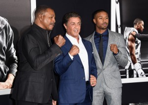 Sylvester Stallone and Michael B. Jordan are joined by Ryan Coogler on the black carpet at the Los Angeles premiere of Creed.