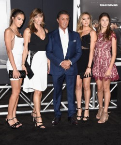 Sylvester Stallone is joined by his wife and daughters at the Los Angeles premiere of his film Creed in Westwood, CA.