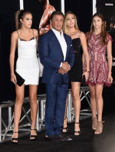Sylvester Stallone has his daughters by his side at the Creed premiere in Los Angeles.