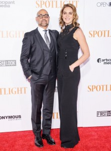 Stanley Tucci and wife Felicity Blunt attend the New York City premiere of Spotlight held at the Ziegfeld Theatre on October 27, 2015.