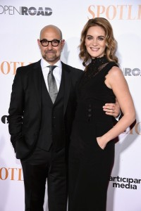 Stanley Tucci and Felicity Blunt attend the New York City premiere of Spotlight held at the Ziegfeld Theatre on October 27, 2015.