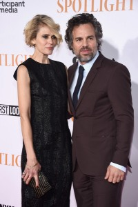 Mark Ruffalo and wife Sunrise Coigney attend the New York City premiere of Spotlight held at the Ziegfeld Theatre on October 27, 2015.