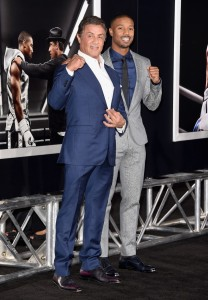 Sylvester Stallone and Michael B. Jordan attend the Creed premiere in Los Angeles held at Regency Village Theatre, Westwood, CA on November 19, 2016.