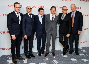Tom McCarthy, Stanley Tucci, Mike Rezendes, Mark Ruffalo, Michael Keaton & Walter Robinson attend the UK premiere of Spotlight held at Curzon Mayfair, London on January 20, 2016.