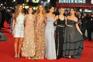 The girls of Pride and Prejudice and Zombies pose for pictures on the red carpet at the London premiere of their new film