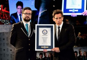 Ben Stiller receives a certificate for breaking the world record by using the longest selfie stick at the London premiere of Zoolander No. 2.