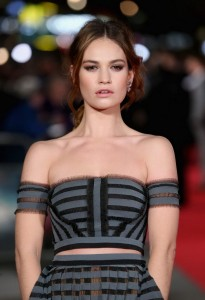 Lily James at the Pride and Prejudice and Zombies London premiere on February 1, 2016 at Vue West End, Leicester Square.