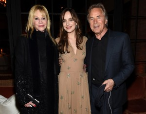 Dakota Johnson with her parents Melanie Griffith and Don Johnson at the How to Be Single premiere in New York City.