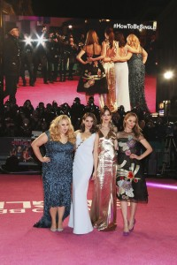 Rebel Wilson, Alison Brie, Dakota Johnson & Leslie Mann pose for pictures together at the How to Be Single European premiere in London. (Location: Vue, West End, Leicester Square)