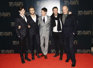 The boys of Pride and Prejudice and Zombies at the London premiere held at Vue West End, Leicester Square.