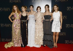 The girls of Pride and Prejudice and Zombies at the London premiere on February 1, 2016 at Vue West End, Leicester Square.