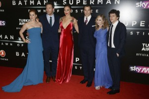 Amy Adams, Ben Affleck, Gal Gadot, Henry Cavill, Holly Hunter and Jesse Eisenberg at the European film premiere of Batman v Superman: Dawn of Justice held at Odeon and Empire cinemas in Leicester Square, London, UK on March 22, 2016.