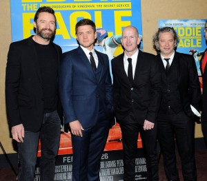 Hugh Jackman, Taron Egerton, Eddie Edwards & director Dexter Fletcher attend a screening for Eddie the Eagle in New York City on February 2, 2016.