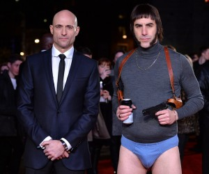 Mark Strong & Sacha Baron Cohen attend the world premiere of Grimsby held at Odeon, Leicester Square in London on February 22, 2016.