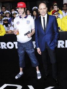 Sacha Baron Cohen & Mark Strong attends The Brothers' Grimsby premiere in Los Angeles held at Regecncy Village Theatre, Westwood, California.