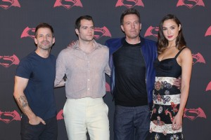 Director Zack Snyder, Henry Cavill, Ben Affleck and Gal Gadot at the Mexico film premiere of Batman v Superman: Dawn of Justice held at the National Auditorium, Miguel Hidalgo, Mexico City on March 19, 2016.
