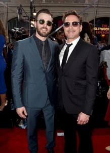 Chris Evans and Robert Downey Jr. at the world premiere of Captain America: Civil War held at the Dolby Theatre, Hollywood Blvd, CA on April 12, 2016.