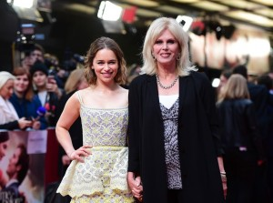 Emilia Clarke and Joanna Lumley at the European premiere of Me Before You held at The Curzon Mayfair, London on Wedneday 25th May 2016.