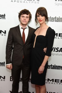 Evan Peters and Carolina Bartczak at the New York screening of X-Men: Apocalypse held at Entertainment Weekly on Tuesday May 24, 2016.