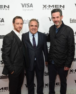 James McAvoy, Jim Gianopulos and Simon Kinberg at the New York screening of X-Men: Apocalypse held at Entertainment Weekly on Tuesday May 24, 2016.