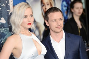 Jennifer Lawrence and James McAvoy at the X-Men: Apocalypse Global Fan Screening held at BFI IMAX, Southbank, Waterloo, London on Monday 9th May 2016.