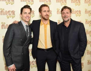 Matt Bomer, Ryan Gosling and Russell Crowe at The Nice Guys New York screening held at Metrograph theatre in New York City on Thursday 12th May 2016