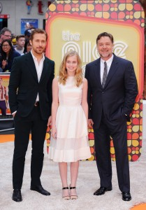 Ryan Gosling, Angourie Rice and Russell Crowe at The Nice Guys UK Premiere held at the Odeon, Leicester Square, London on Thursday May 19, 2016.