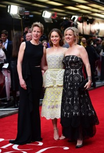 Thea Sharrock, Emilia Clarke and Jojo Moyes at the European premiere of Me Before You held at The Curzon Mayfair, London on Wedneday 25th May 2016.