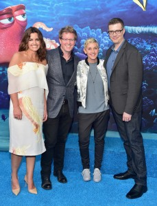 Lindsey Collins, Andrew Stanton, Ellen DeGeneres and Angus MacLane at the world premiere of Finding Dory on June 8, 2016 at the El Capitan Theatre, Hollywood Blvd, Los Angeles, CA.