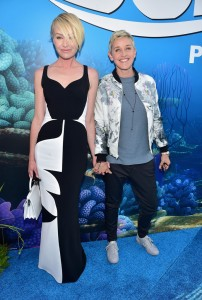 Portia de Rossi and Ellen DeGeneres at the world premiere of Finding Dory on June 8, 2016 at the El Capitan Theatre, Hollywood Blvd, Los Angeles, CA.