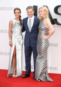 Alicia Vikander, Matt Damon and Julia Stiles at the European premiere of Jason Bourne held at the Odeon, Leicester Square, London on July 7, 2016.