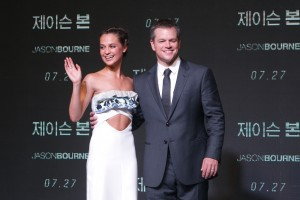 Alicia Vikander and Matt Damon at the South Korean premiere of Jason Bourne on July 8, 2016.