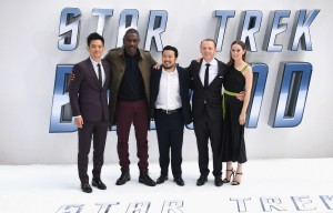 John Cho, Idris Elba, Justin Lin, Simon Pegg and Lydia Wilson at the U.K. Film Premiere of Star Trek: Beyond held at Empire Cinema, Leicester Square, London of July 12, 2016.